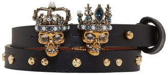 Alexander McQueen Black and Gold Queen and King Double Wrap Bracelet