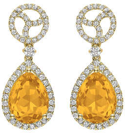 Kiki McDonough Signature 18k Gold Diamond & Citrine Drop Earrings