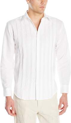 Cubavera Cuba Vera Men's Long-Sleeve Multiple Tucks Woven Shirt