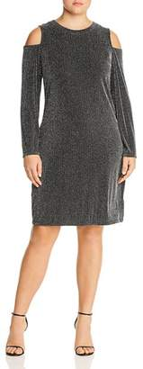 MICHAEL Michael Kors Metallic Ribbed Cold Shoulder Dress