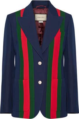 Gucci 条纹羊毛真丝混纺绉纱西装式外套