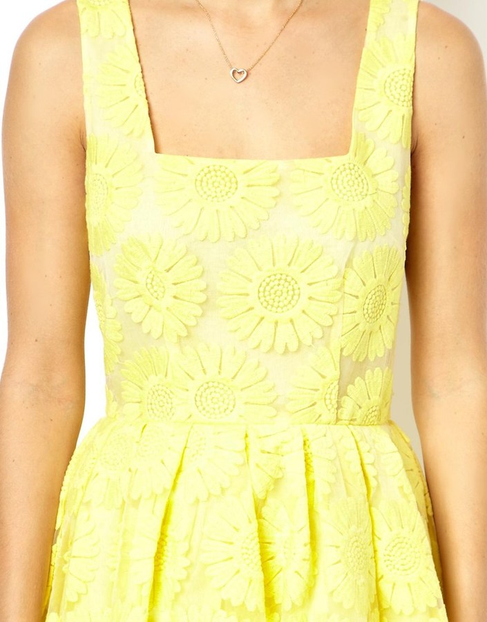 Asos Skater Dress With Embroidered Sunflowers