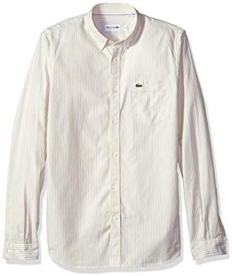 Lacoste Men's Long Sleeve Regular Fit Button Down Oxford Bengal Stripe