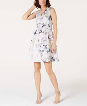 Tahari ASL Metallic Floral Jacquard Fit & Flare Dress
