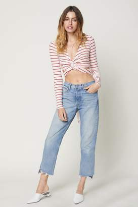 Flynn Skye Long Sleeve Thats A Wrap Crop Top - Red Stripe Rib