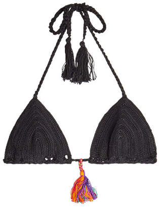 Anna Kosturova Crochet Bikini Top with Tassels