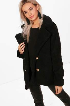 boohoo Lauren Double Breasted Faux Fur Teddy Coat