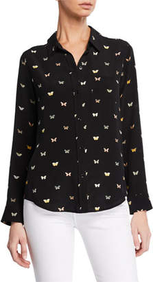 Rails Kate Button-Front Butterfly-Patterned Shirt