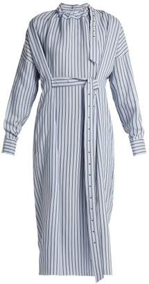 Tibi Belted Striped Dress - Womens - Blue Stripe