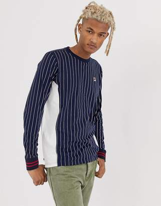 b96fdf0b210a Fila Eoghan striped long sleeve t-shirt in navy