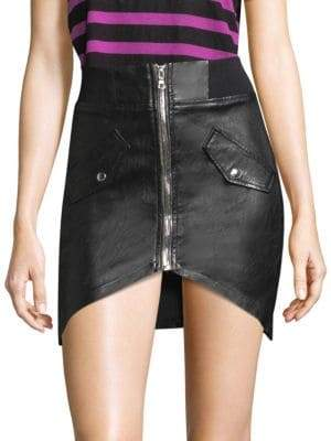 RtA Isla Leather Zip Mini Skirt