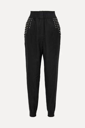 IRO Richly Studded Linen-blend Tapered Pants - Black