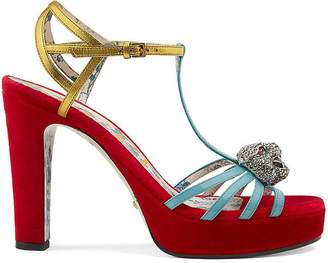 Gucci Women's Leather & Velvet Platform Sandals