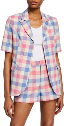 ENGLISH FACTORY Check Structured Two-Button Short-Sleeve Blazer