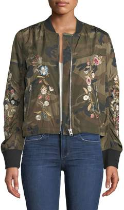 Driftwood Zoe Floral-Embroidered Camouflage Bomber Jacket