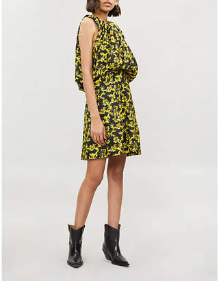 Calvin Klein Puffed-bodice printed crepe mini dress