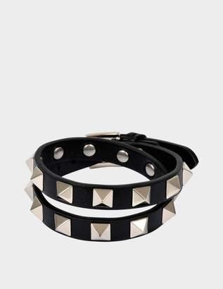 Valentino Rockstud Double Rows Bracelet or Choker Necklace in Black Calfskin