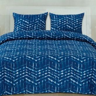 Monroe Popular Home Collection Blue Zig Zag Pattern Geometric 3-Piece Duvet Cover Set