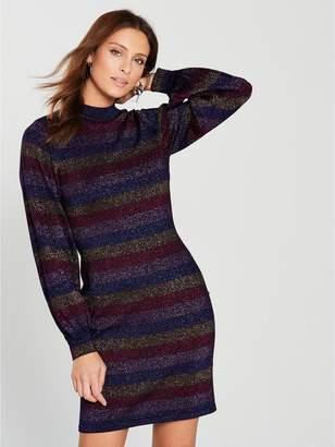Warehouse Stripe Sleeve Lurex Raglan Dress - Multi