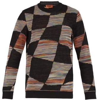 Missoni Checked Space Dyed Knitted Sweater - Mens - Black Multi