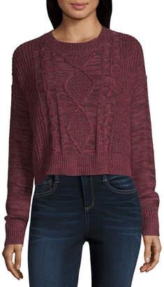 Arizona Womens Crew Neck Long Sleeve Pullover Sweater-Juniors