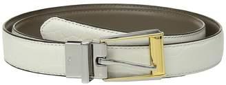 Lauren Ralph Lauren 3/4 Two-Tone Dress Buckle Reversible Faux Croc to Smooth PU Women's Belts