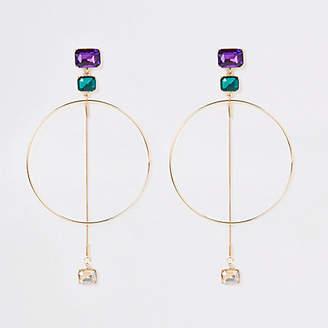 River Island Gold tone jewel hoop drop earrings