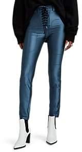 Taverniti So Ben Unravel Project Women's Satin-Effect Lace-Up Leggings - Blue