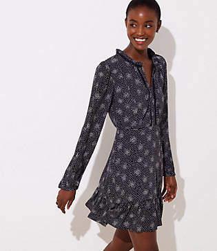 LOFT Scattered Dot Split Neck Dress