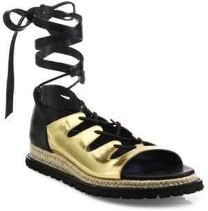 Sacai Metallic Leather Espadrille Sandals