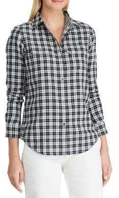 Chaps Petite Relaxed-Fit Gingham Cotton Button-Down Shirt