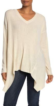 Blvd Long Sleeve Ribbed Knit Asymmetric Hem Sweater