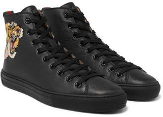 Gucci Major Appliquéd Full-grain Leather High-top Sneakers