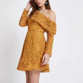 River Island Womens Mustard lace one shoulder frill dress