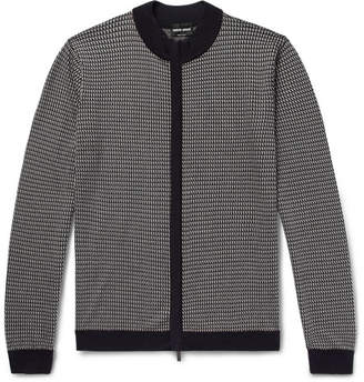 Giorgio Armani Mulberry Silk and Cotton-Blend Jacquard Zip-Up Cardigan