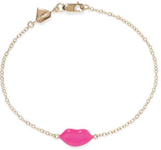 Alison Lou Lip 14-karat Gold And Enamel Bracelet