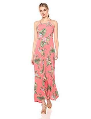 28 Palms Tropical Hawaiian Print Halter Maxi Dress Casual,Medium