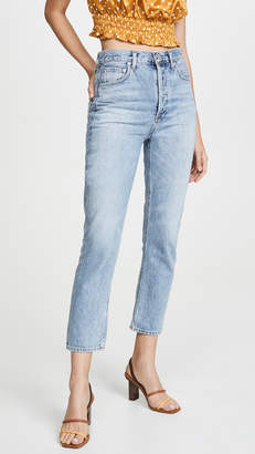 A Gold E Agolde Double Pocket Riley High Rise Cropped Jeans