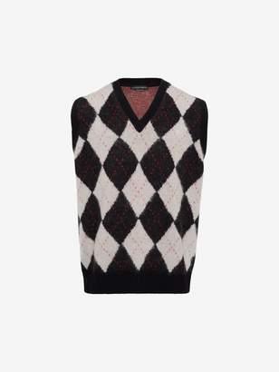 Alexander McQueen Wool Mohair Argyle Sweater Vest