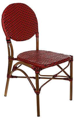 Tiab Inc. Café Outdoor Bistro Side Chair - Red/Black