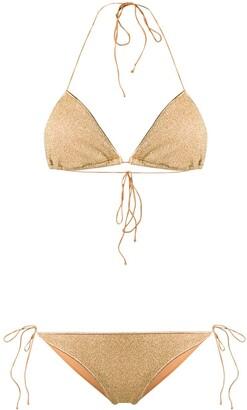 Oseree Lumière metallic triangle bikini