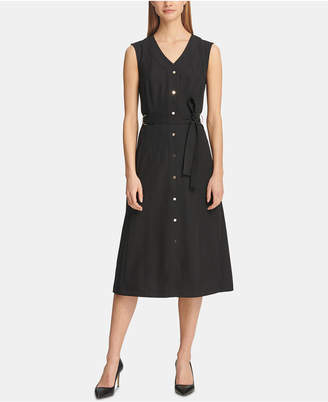 DKNY Belted Button-Front Shirtdress