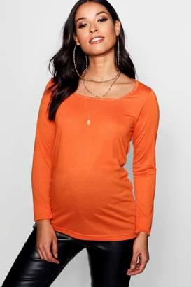 boohoo Maternity Square Neck Long Sleeve Top