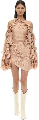 Zimmermann DRAPED SILK SATIN MINI DRESS W/ BOWS