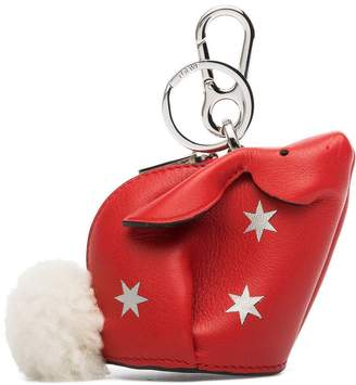 Loewe red Bunny star leather and shearling tail bag charm
