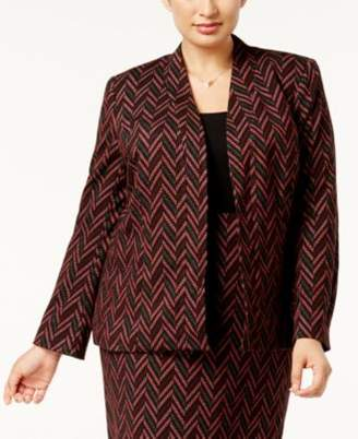 Kasper Plus Size Zigzag-Knit Jacquard Blazer