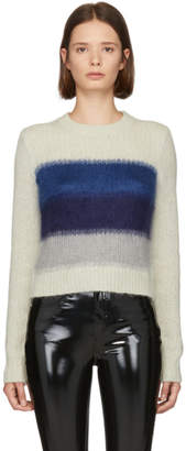 Rag & Bone White and Blue Holland Crop Sweater