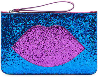 Lulu Guinness Glitter Lip Grace Clutch Bag - Blue/Purple