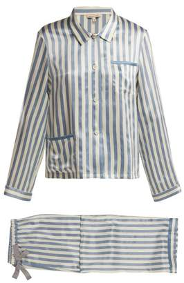 Morgan Lane - Ruthie Striped Silk Pyjama Set - Womens - Blue Stripe