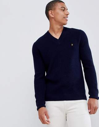 Farah Shawn lambswool v neck sweater in navy